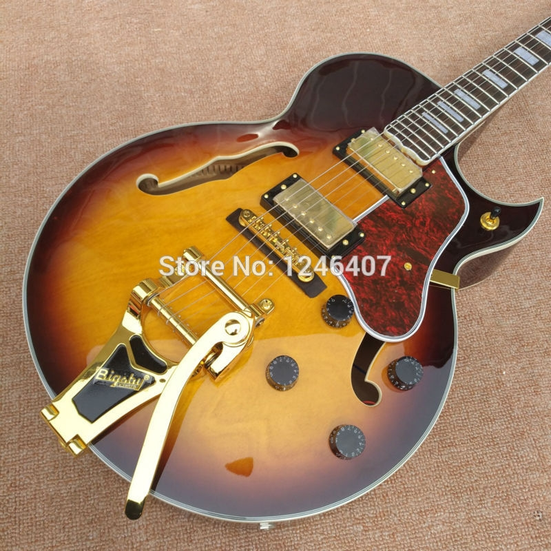 (296.10$)  Watch more here  - Free delivery of gold Biggs high quality arch guitar, thick hollow body Jazz electric guitar, tobacco, Brown burst, flame maple