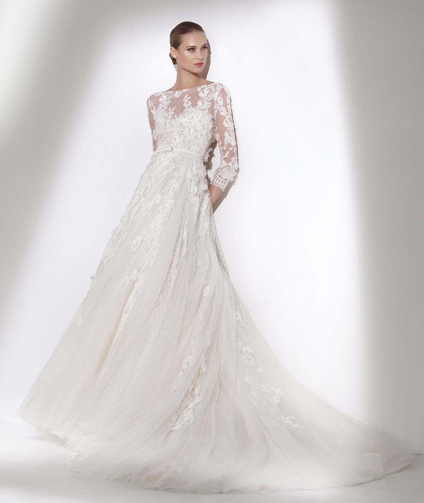 Maui wedding dress three quarter sleeves pronovias