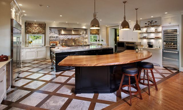 Curved Kitchen Island With Wooden Design Also Have Wood Counter Top Best Modern Countertops Bar