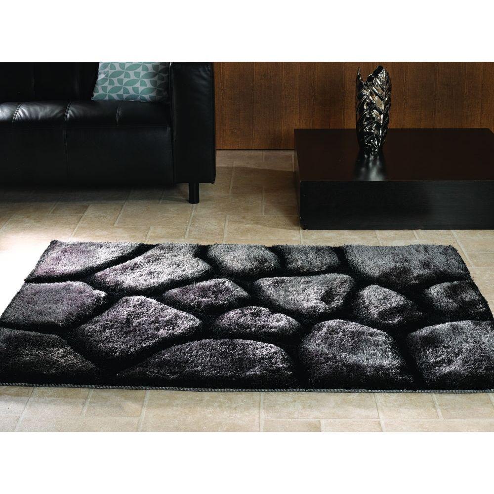 Flair Verge Brook 3d Pebbles Rug Black Silver Living Room