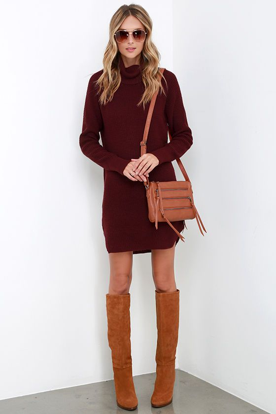 85bec809dd8 Once Smitten Burgundy Turtleneck Sweater Dress at Lulus.com!