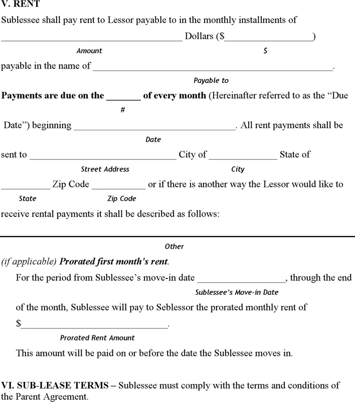 Hawaii Sublease Agreement Form Download Free Printable
