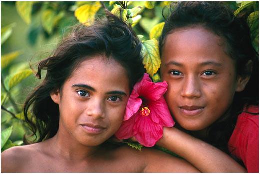 Tahitians Two Tahitian girls, modern day Tahiti