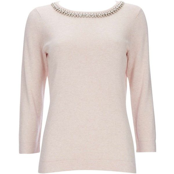 Pale Pink Ribbon Necklace Jumper ($35) ❤ liked on Polyvore ...