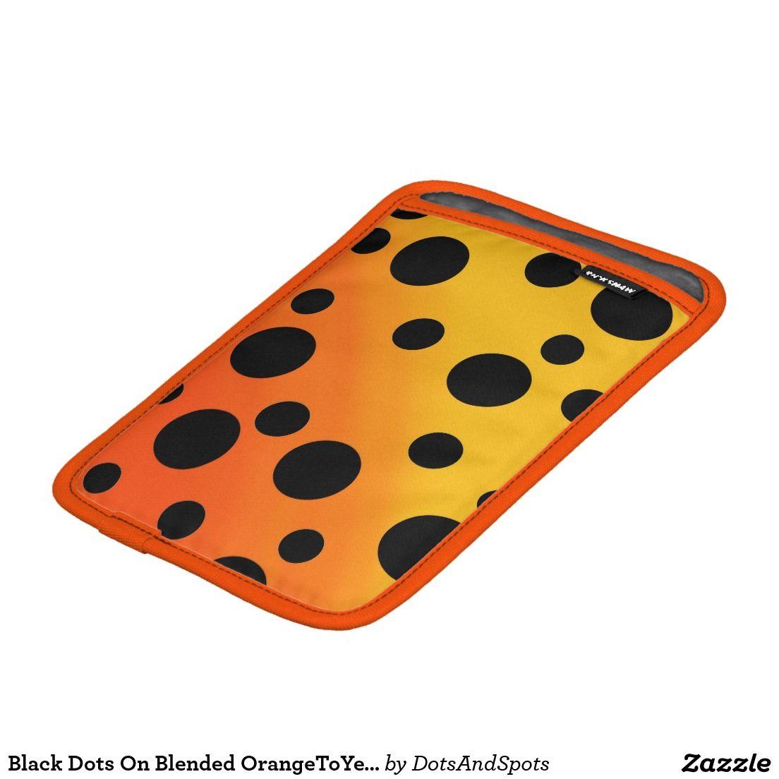 Black Dots On Blended OrangeToYellow iPad Mini Sleeves