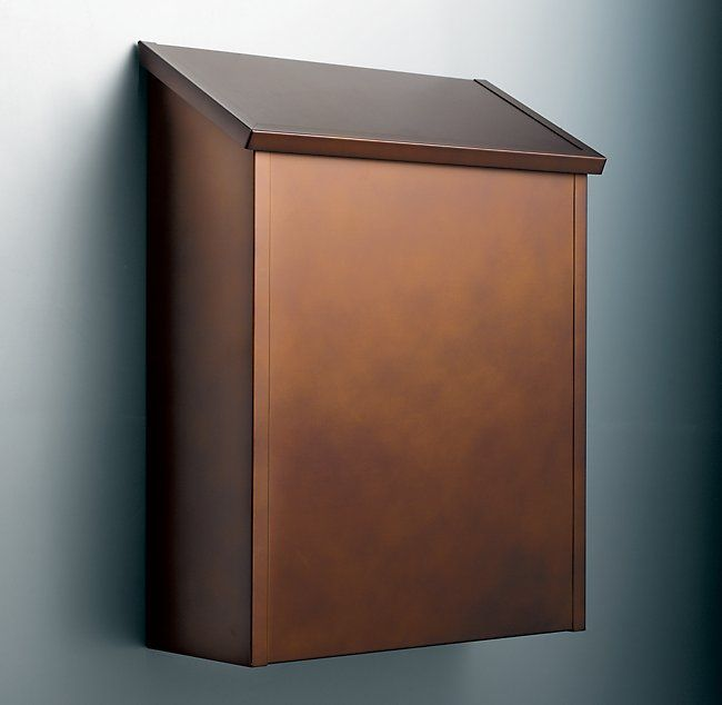 vertical wall mount mailbox. Antique Copper Vertical Wall Mount Mailbox | Restoration Hardware O
