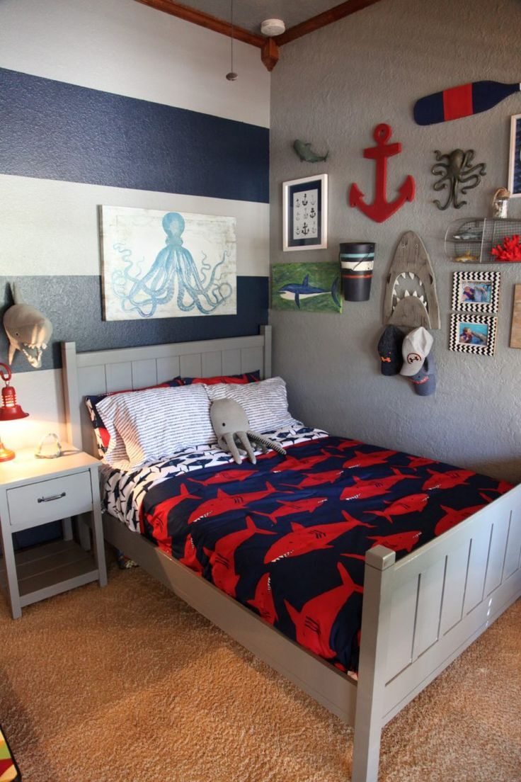 remarkable boys bedroom colors | Shark Themed Boy's Room in 2019 | Boys bedroom themes, Boy ...