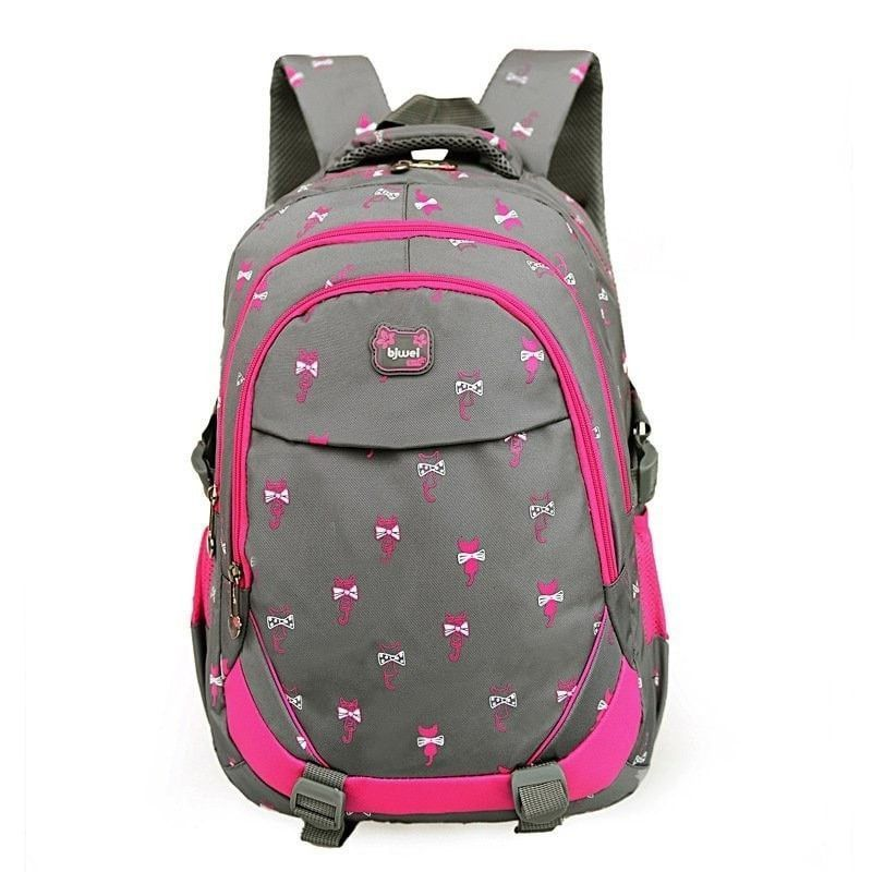 Cute Little Girl s Kitten Print Top-Quality Durable Waterproof Backpack 4  Colors b37591a8975d1