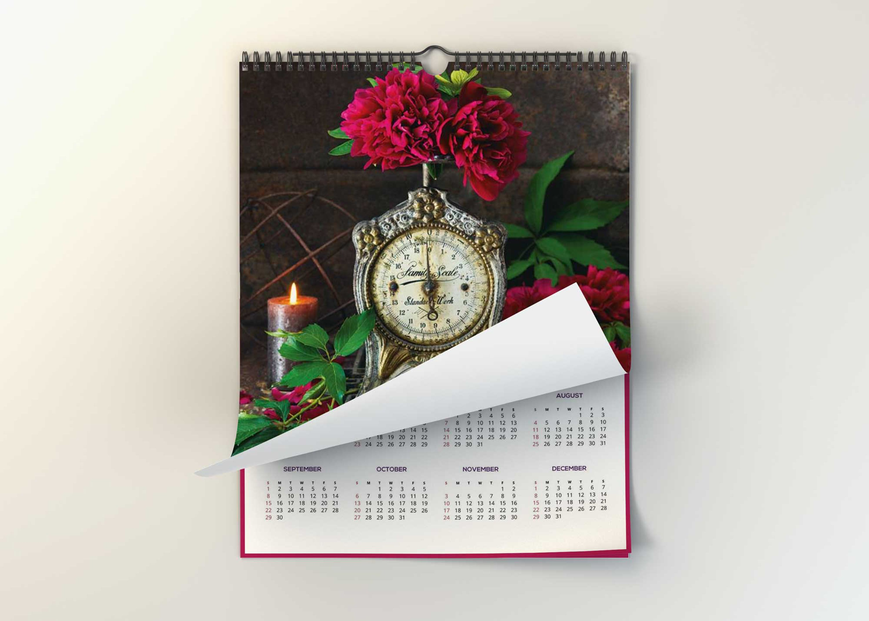 Free Wall Large Calendar Rolled Page Mockup DownloadFree