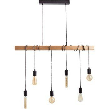 Suspension E27 Style Industriel Townshend Bois Hetre 6 X 60 W Eglo