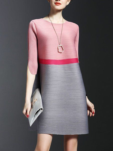 Compra vestidos midi - Elegante media manga color block plisado H-line vestido m... 3
