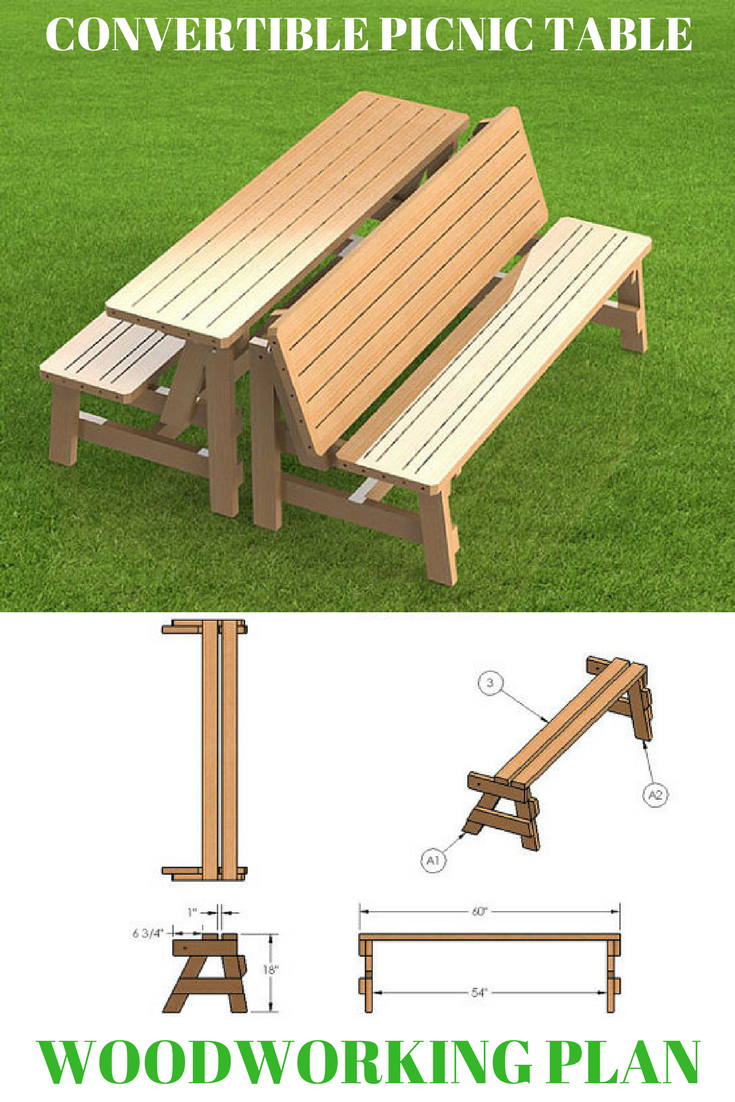 Build Your Own Patio Benches That Fold Up Into A Picnic Table With These Woodworking Project Plans Picnic Table Wooden Picnic Tables Rustic Furniture Design