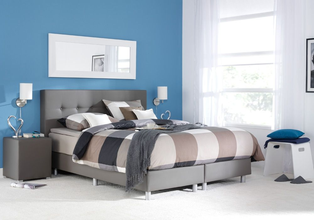 Boxspring kopenhagen: een modern bed in leatherlook #slaapkamer