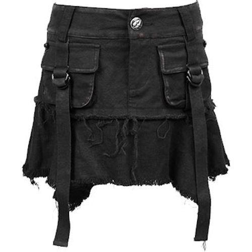 Women Black Skull Mini Punk Rock Emo Fashion Skirt Skorts Clothing SKU-11406291