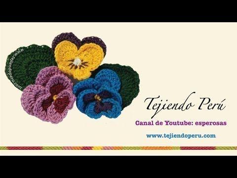 Como tejer flores pensamientos al crochet paso a paso | Crochet y ...