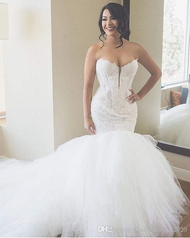 Luxury Ivory Lace Mermaid Wedding Dresses Sweetheart Liques Puffy Tulle Ball Gown Dress Plus Size