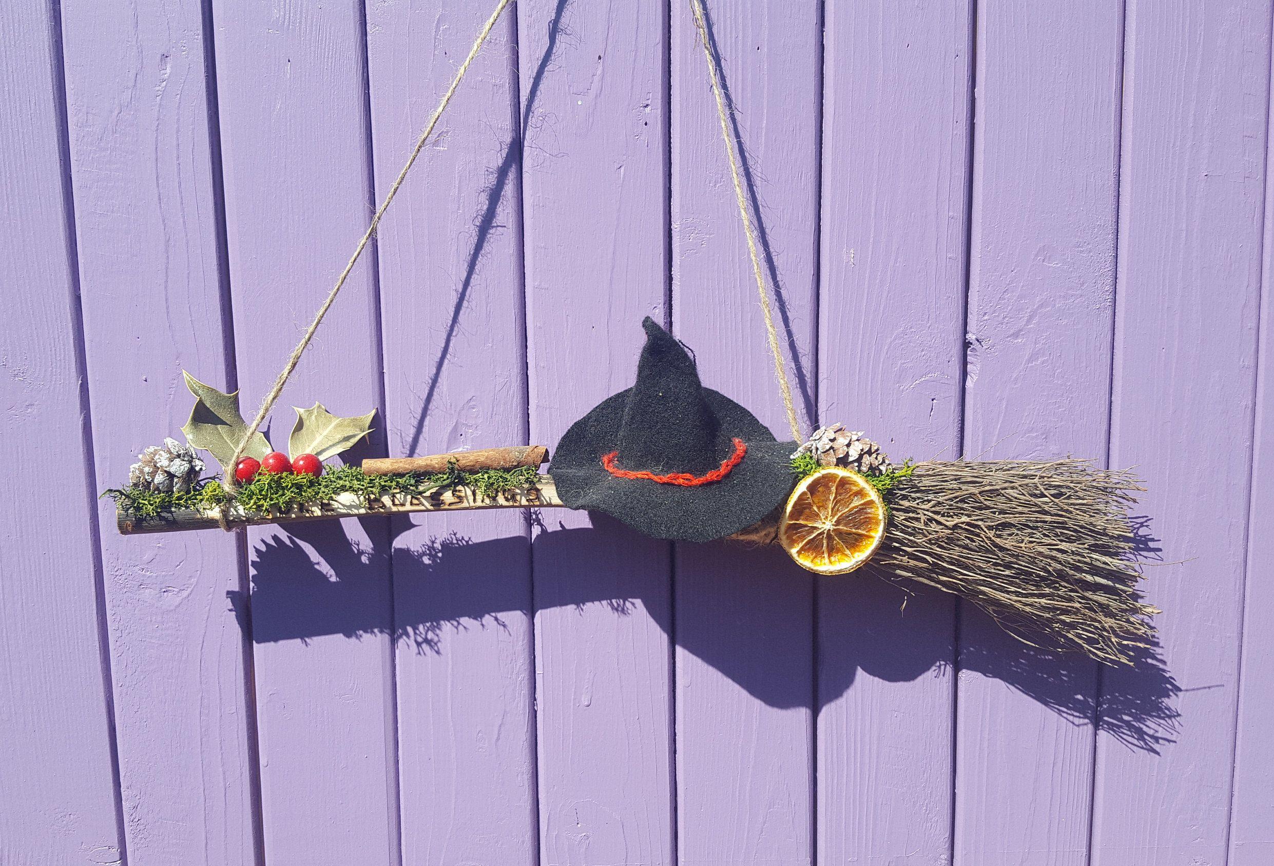 Xmas Wall Hanging Dried Oranges Heart Yule Wreath Festive Door Hanger Miniature Broomstick Wiccan Besom Broom Yuletide Decoration
