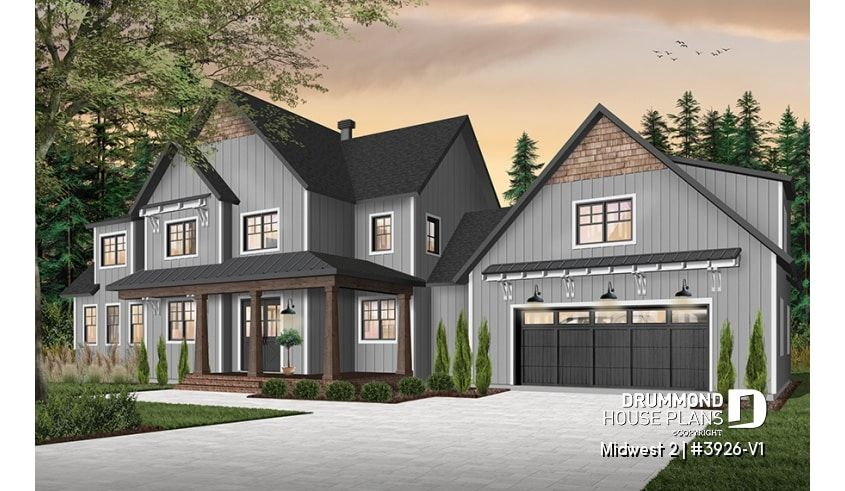 Discover The Plan 3926 V1 Midwest 2 Which Will Please You For Its 5 4 Bedrooms And For Its Farmhouse Styles In 2020 Farmhouse Plans Drummond House Plans House Plans
