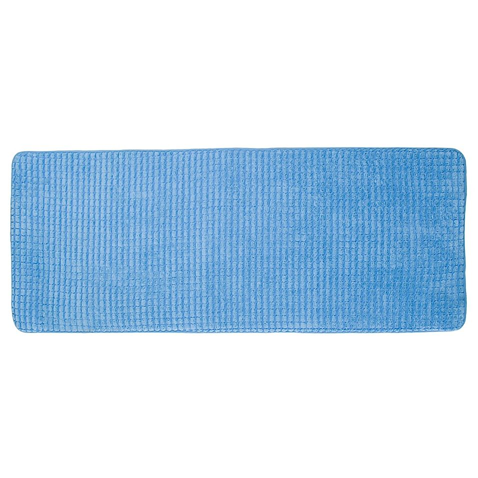 Nottingham Home 59 X 24 Jacquard Memory Foam Bath Mat In Blue