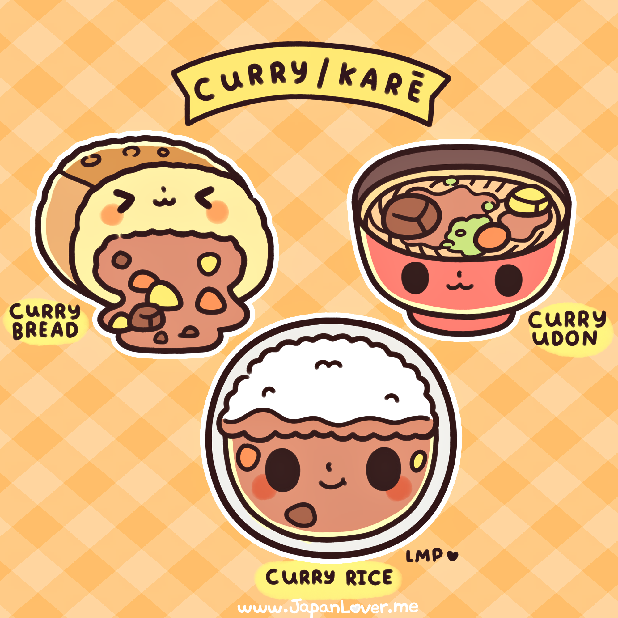 """Are you as curry-azy for curry like we are? ヽ(°▽、°)ノ   Of course, we all know curry didn't originate from Japan~ It was brought to Japan by the British, (when India was still under their administration). It became so popular in the Japanese households because of its convenient preparation and storage, that it is considered a """"national dish""""! ヽ(' ∇' )ノ  Which form of curry serving do like like most: curry rice, curry bread, or curry udon (or any kind of noodles)?  www.japanlover.me"""