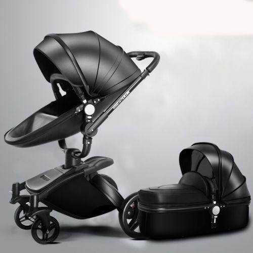 baef1b9bb018 Luxury Baby stroller 3 in 1 leather Carriage Infant Travel System Foldable  Pram