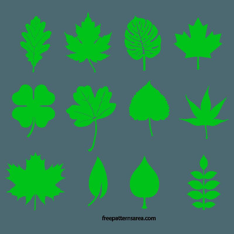 Leaf Silhouette Vectors and Templates | FreePatternsArea