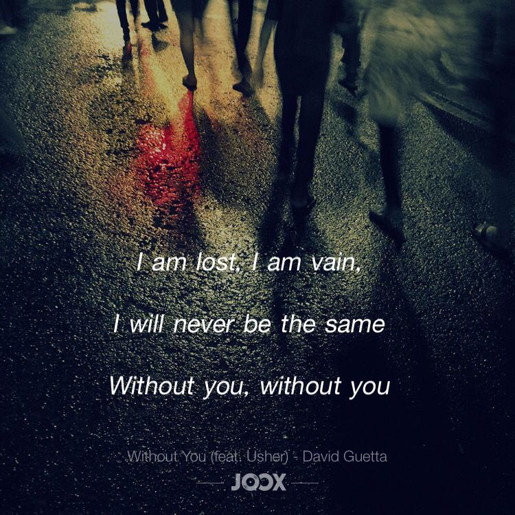 I am lost, I am vain, I will never be the same Without you ...