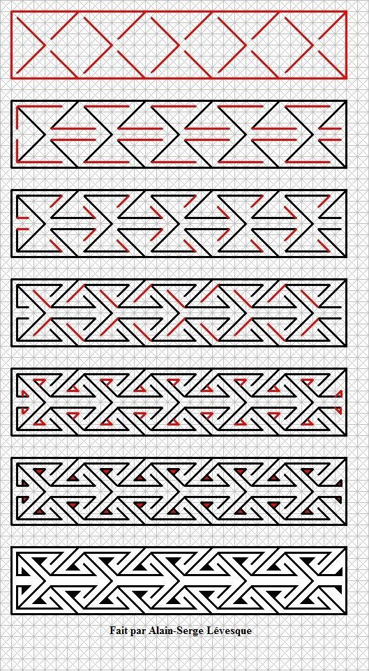 Voici un motif d\'art celtique fait étape par étape. / Here is a key ...