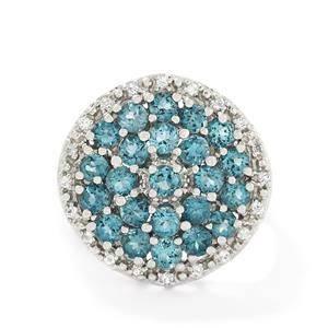 <strong>16</strong> - 3.22ct Swiss Blue & White Topaz Sterling Silver Ring
