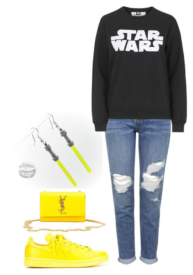 """""""Star Wars"""" by notreallyacheerleader ❤ liked on Polyvore featuring moda, Topshop, Tee and Cake, adidas i Yves Saint Laurent"""