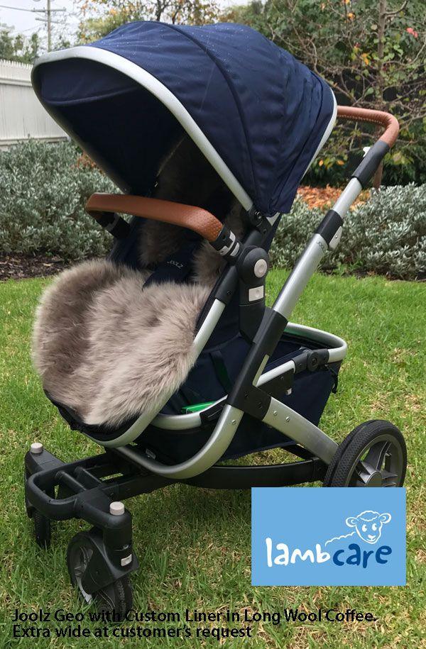 Joolz Geo stroller long wool coffee sheepskin liner (With