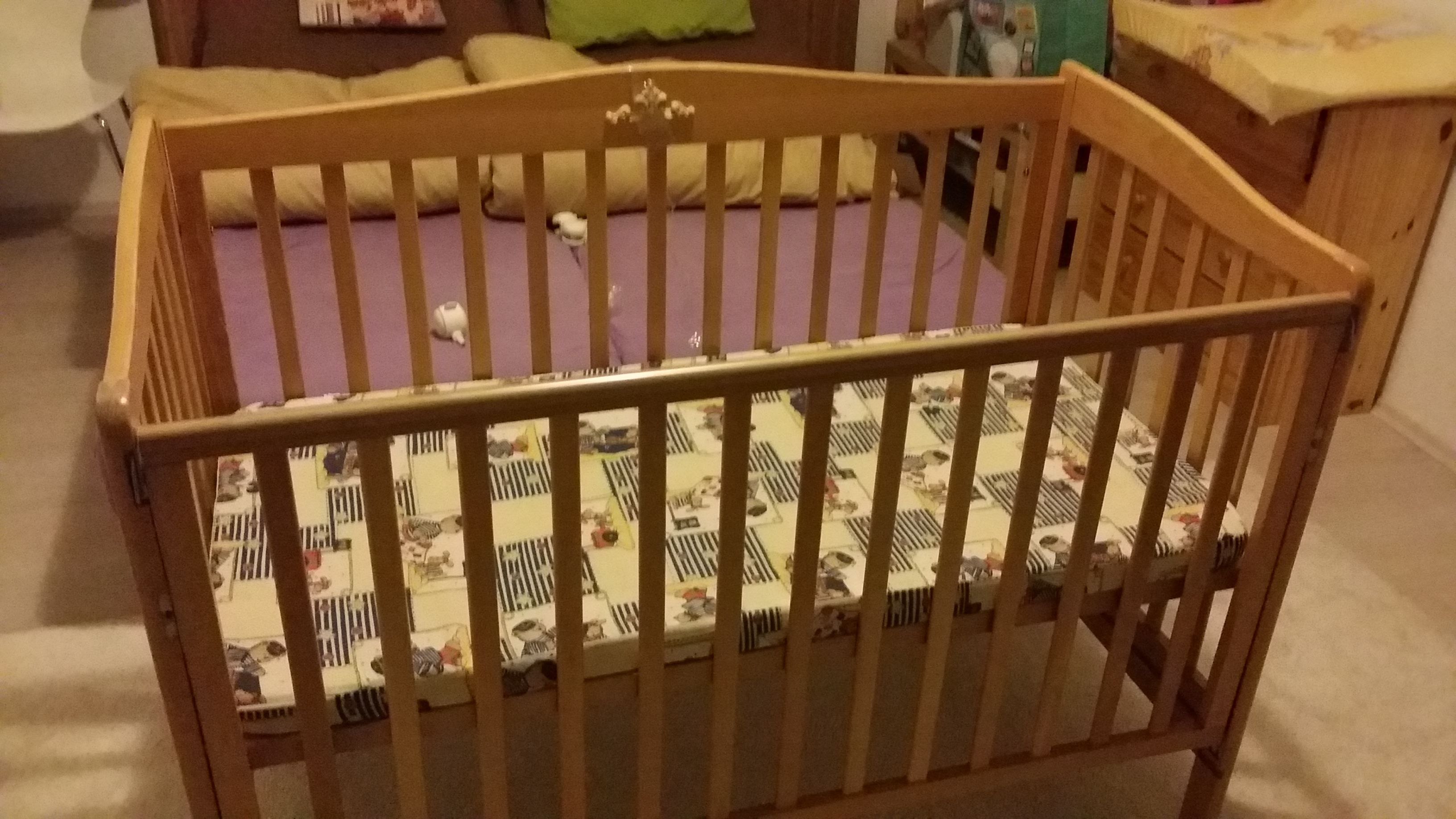 """BABY CRIB (before) from second hand - except it You can see the room (that was """"guest bedroom"""") before renovation and changing table (respectively The chest of drawers)."""