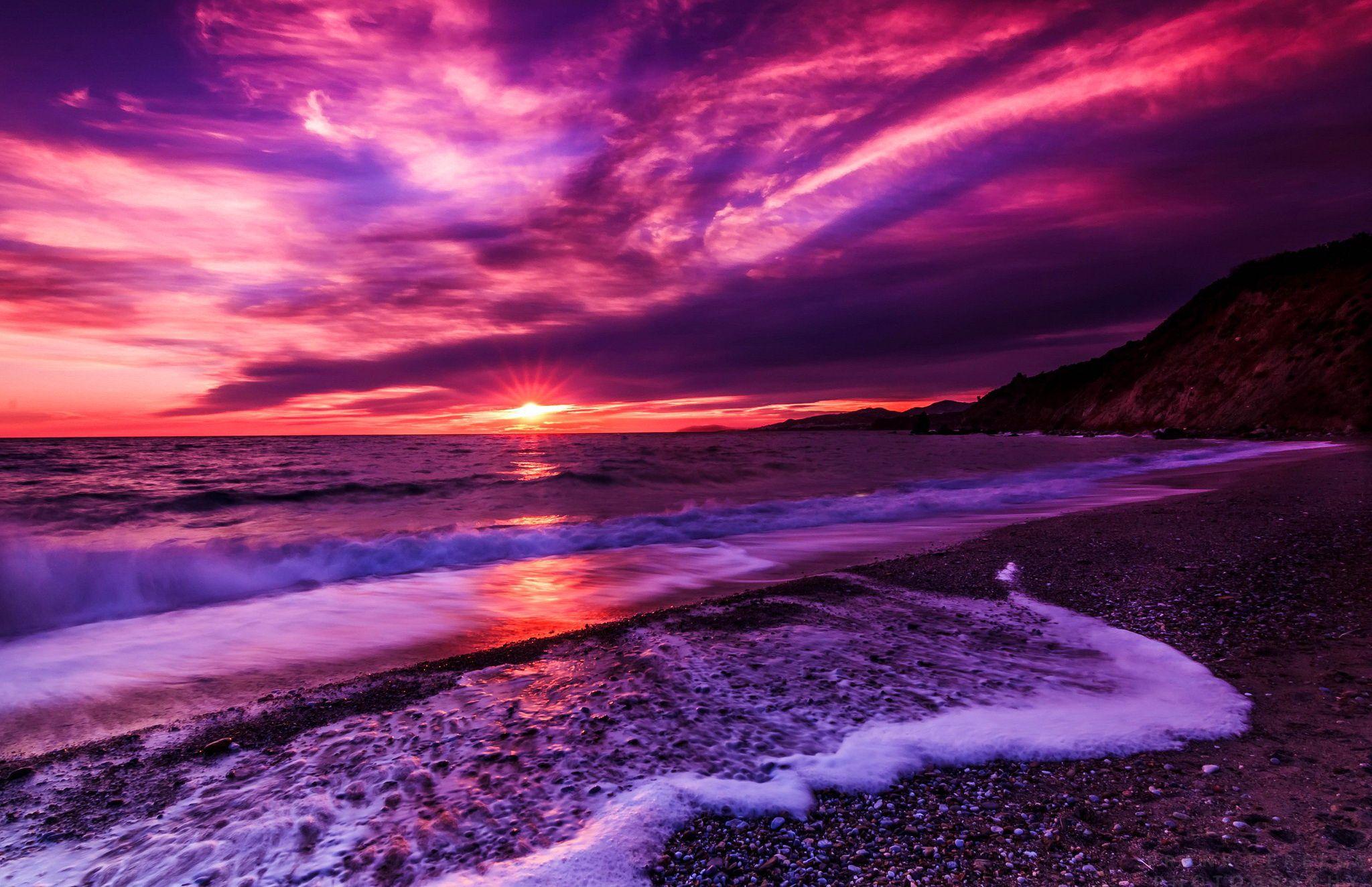 Purple sea Oceans Nature Background Wallpapers on Desktop