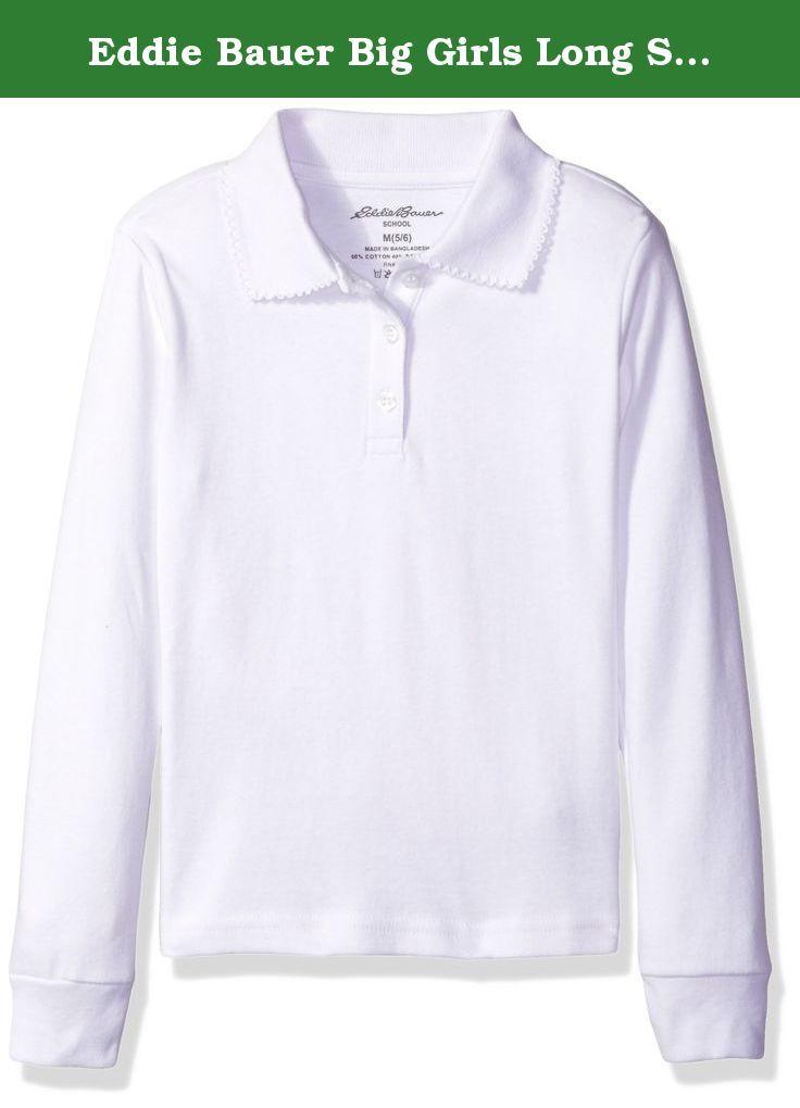 4067af75a Eddie Bauer Big Girls Long Sleeve Interlock Polo