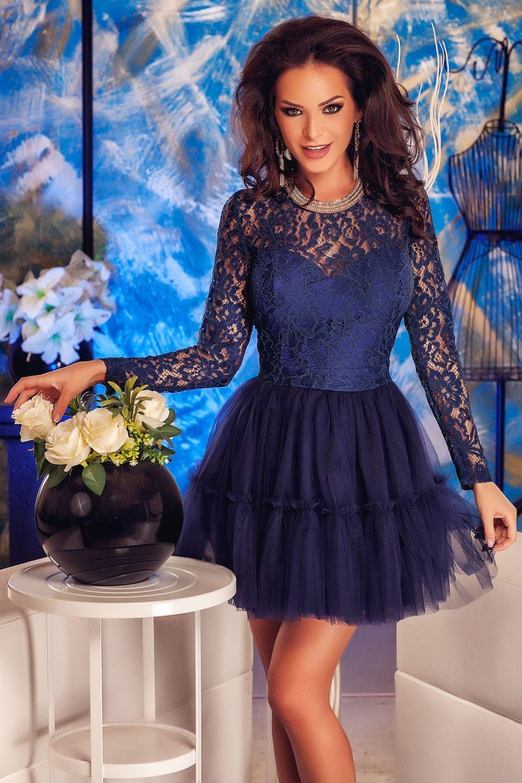 a3dbdb3f300305 Elegant Tutu Flared Navy Lace Babydoll Skater Women Dress