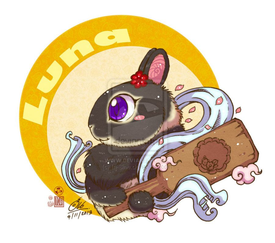Luna is tan pattern dwarf rabbit. She love Shiza very much. She help people from the Anger by moon cake. mahalaxmi mata blessing her for success in this adventure.
