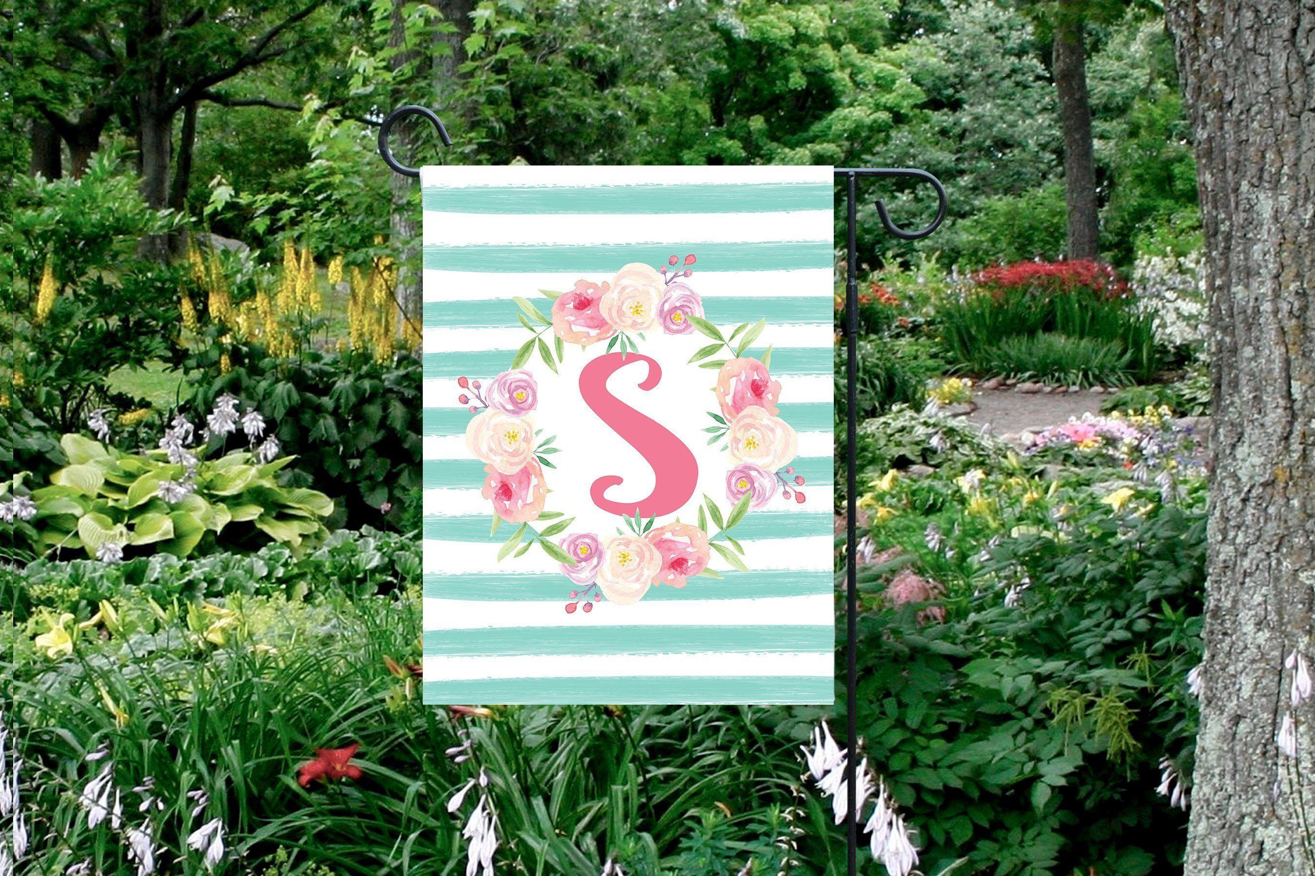 Spring Yard Flag Monogram Garden Flag Personalized Yard Etsy Monogram Garden Flag Personalized Garden Flag Garden Flags