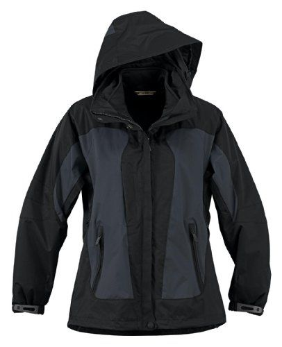 Ladies' Performance 3-in-1 Seam Sealed Mid-length Jacket, Color: Fossil Grey W/black, Size: 3x-large