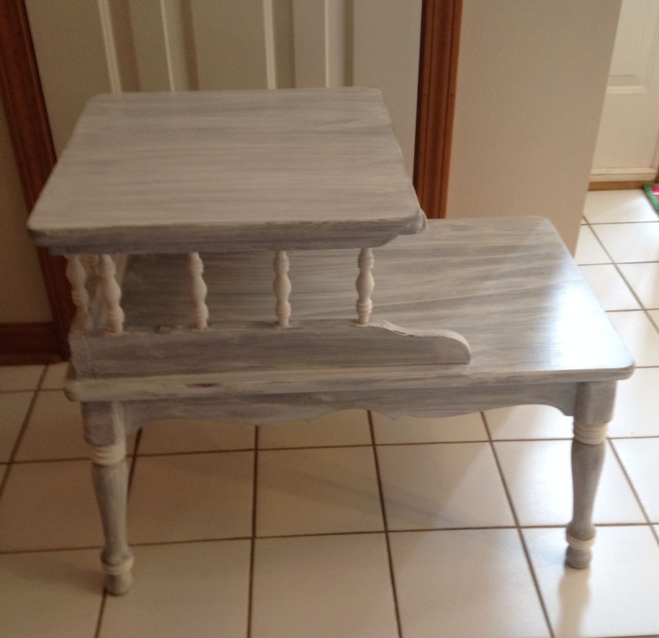 Paris grey with pure white wash on a vintage a ethan allen step paris grey with pure white wash on a vintage a ethan allen step end table geotapseo Choice Image