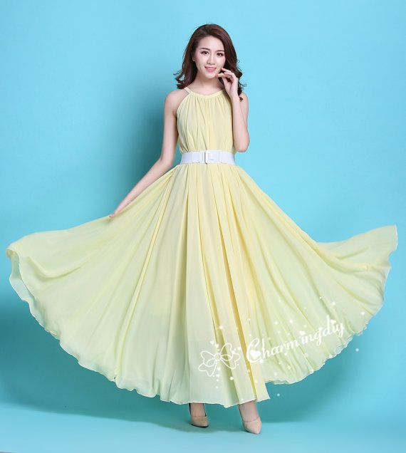 110 Colors Chiffon Light Yellow Long Party Dress Evening