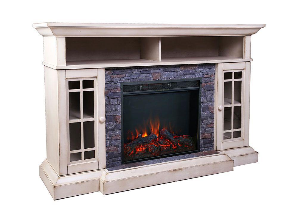 Bennett Farmhouse Ivory Cabinet 28 Infrared Firebox Asmm 017 2866 S404 T Allen Home Electric Fireplace Tv Stand Fireplace Entertainment Fireplace Tv Stand