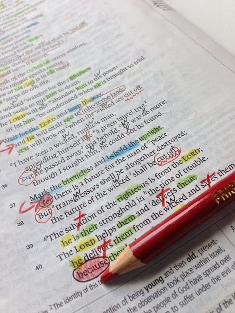 Inductive Bible study markings