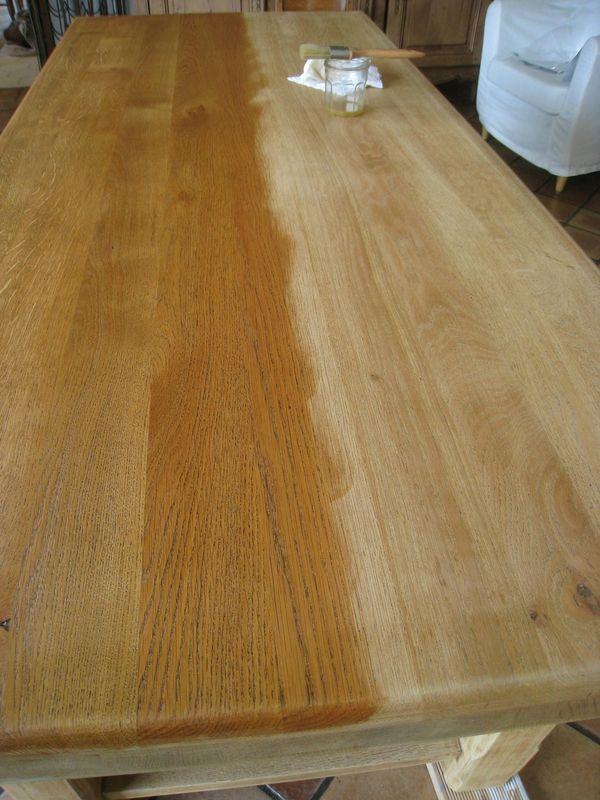 Eclaircir Une Table En Chene Patines Couleurs Wood Table Diy Diy Flooring Natural Wood Stain