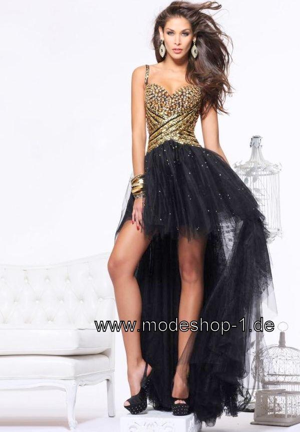 Tüll Vokuhila Abendkleid in Schwarz Gold Im Mode Shop Shoppen ...