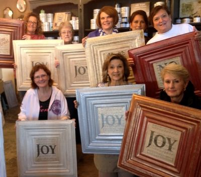 Create some JOY in your life or holiday season! Or why not Peace, Love, Faith or Hope!?! Workshops at TLC Vintage, Des Moines IA