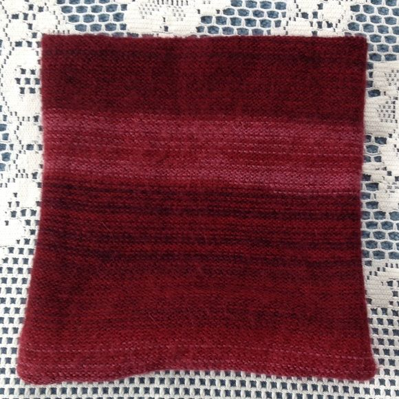 """Wine color neck warmer scarf. Natural fiber. This neck warmer is approximately 22"""" long and 9"""" wide. Stretchy. Made from 100% Alpaca. Made in Peru. Could be worn as double layer or single. The hem ends do naturally roll under. Very warm and gently worn. Andes Gifts Accessories Scarves & Wraps"""