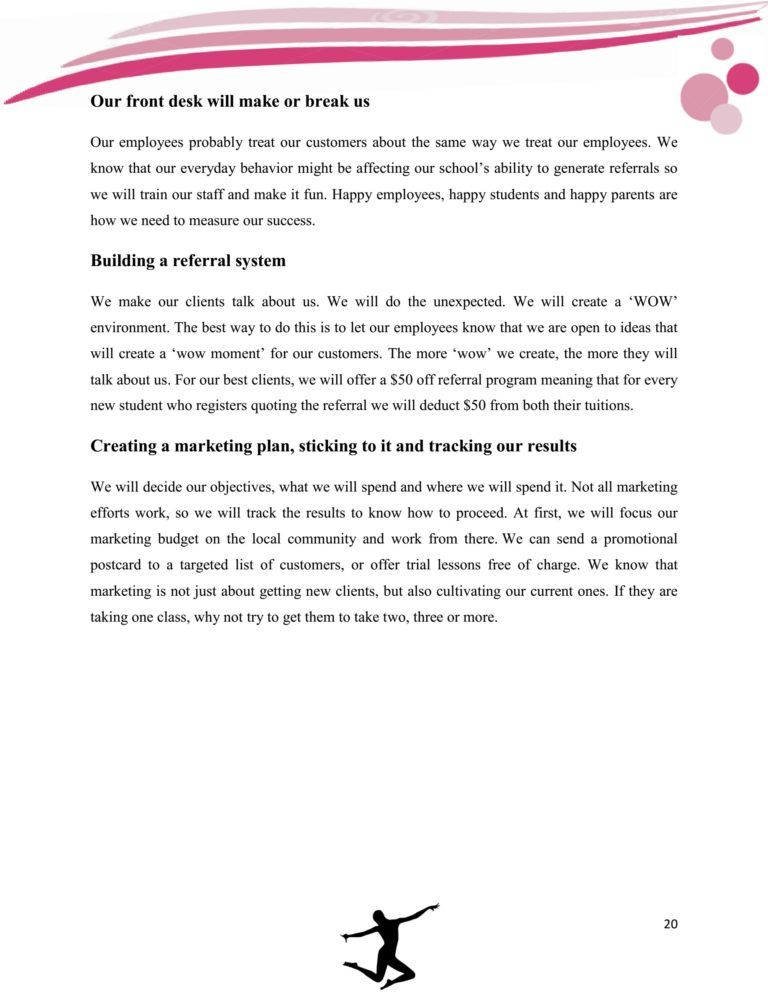 Dance Studio Business Plan Template Sample Pages in 2020