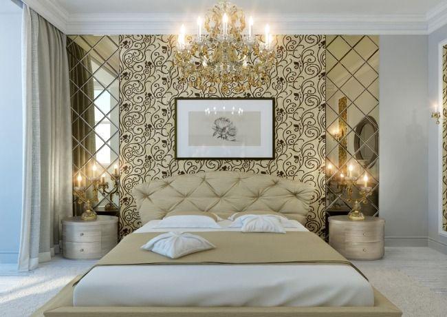 attraktive wandgestaltung gold gesteppter kopfteil piegel, Schlafzimmer