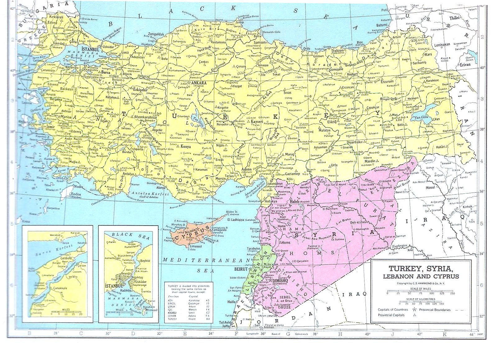 Turqu 237 A Siria L 237 Bano Y Chipre Mapa 1949 La Base De