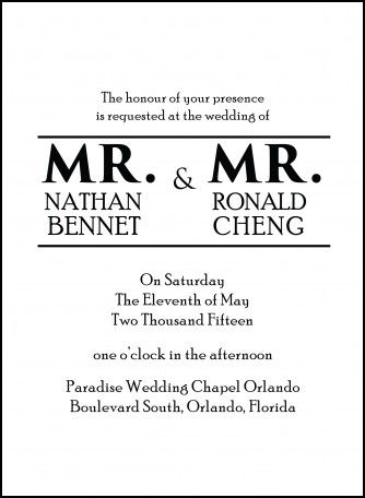 Gay Wedding Invitations Wording Our Wedding Pinterest